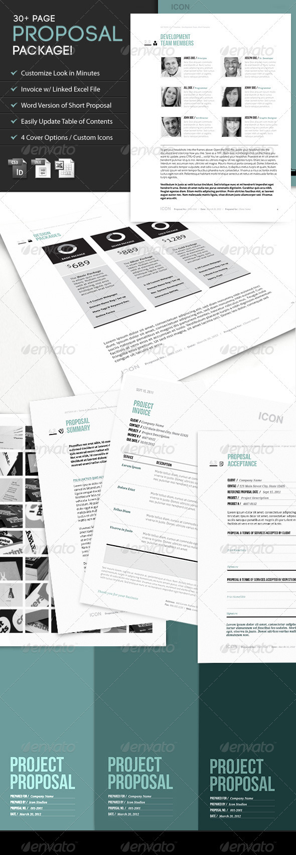 Icon: Proposal Template w/ Invoice & Contract - Proposals & Invoices Stationery