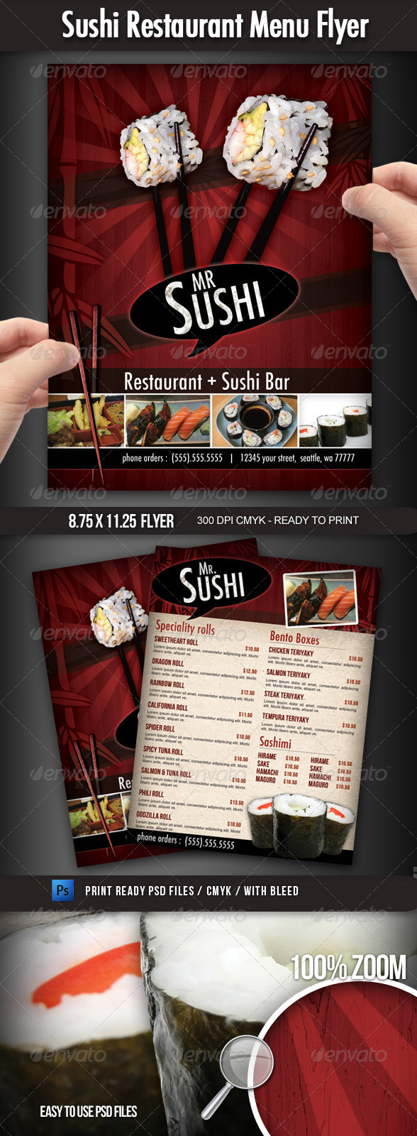 Sushi Restaurant Menu Flyer