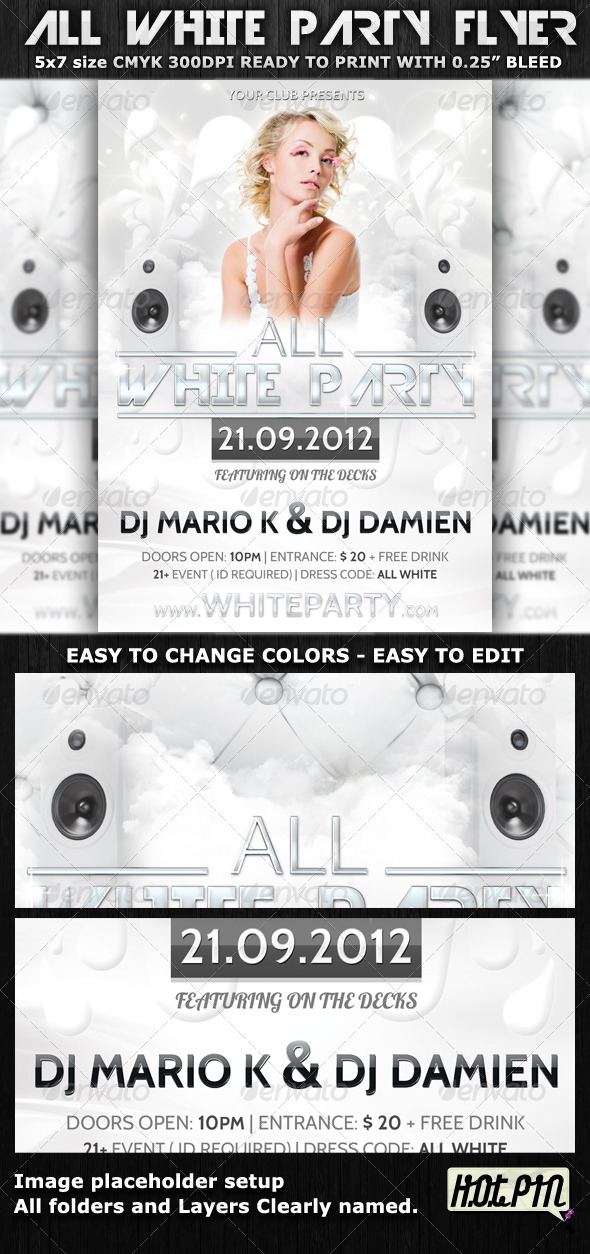 White Party Flyer Template - Clubs & Parties Events