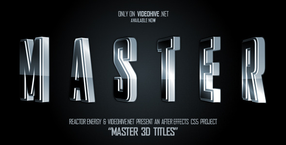 After Effects Project - VideoHive Master 3D Titles 2214075