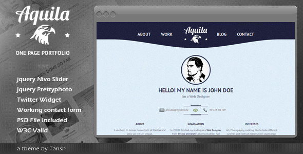 ThemeForest Aquila One Page Portfolio 2210577