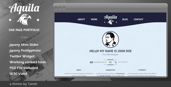 Aquila One Page Portfolio