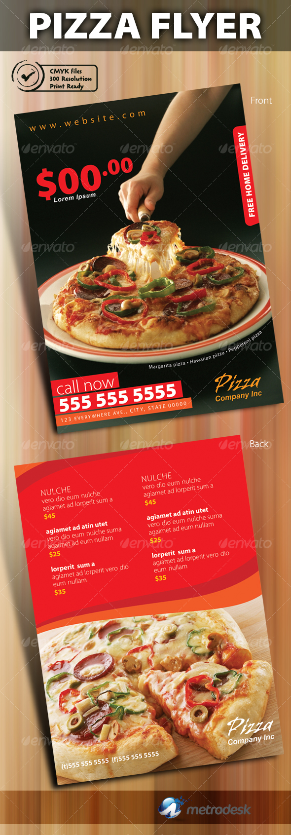 Print ready pizza menu flyer