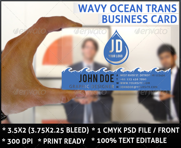 Wavy Ocean Trans Business Card - Business Cards Print Templates