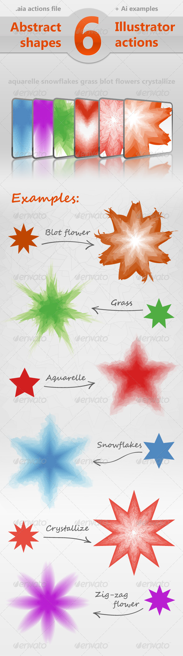 Abstract Shape Effects - 6 Illustrator Actions - Actions Illustrator