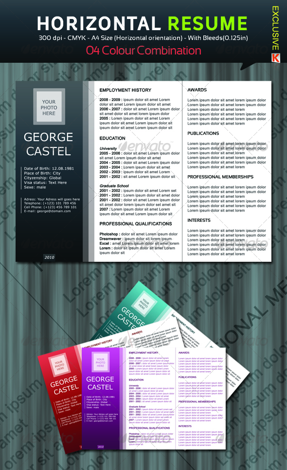 Horizontal Resume with 04 Colour Combination - Resumes Stationery