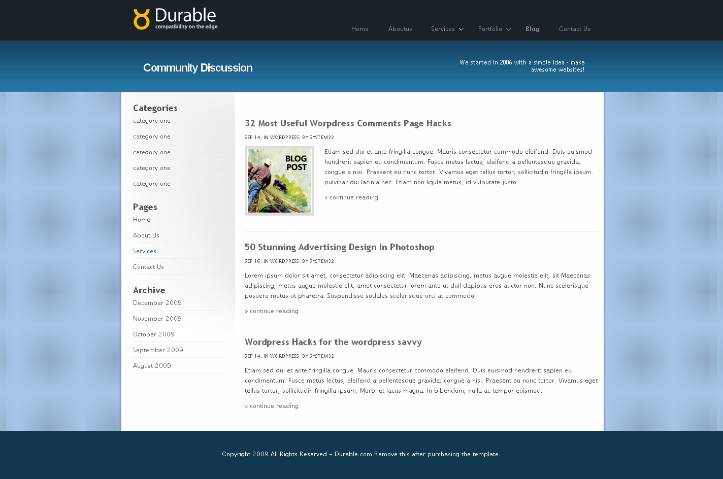 Durable Business & Portfolio Html Template