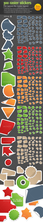 GraphicRiver 300 raster stickers 83120