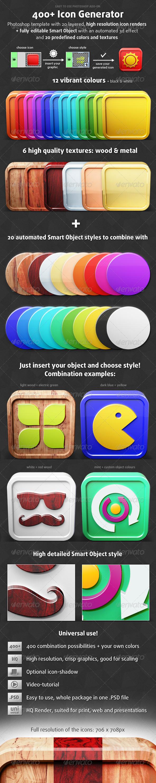 400+ Icon Generator - Photoshop Add-ons