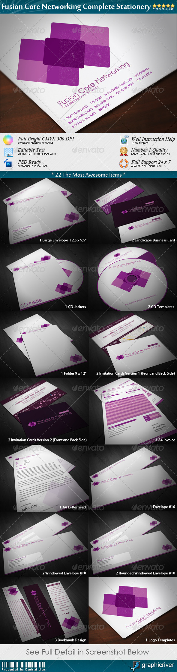 FusionCore Networking Complete Stationery - Stationery Print Templates