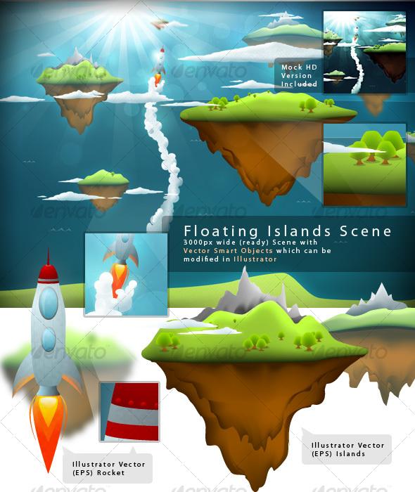 GraphicRiver Beautiful Floating Islands Scene 83284