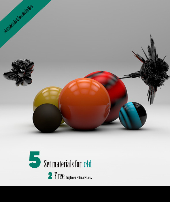 5 New materials & free studio - 3DOcean Item for Sale