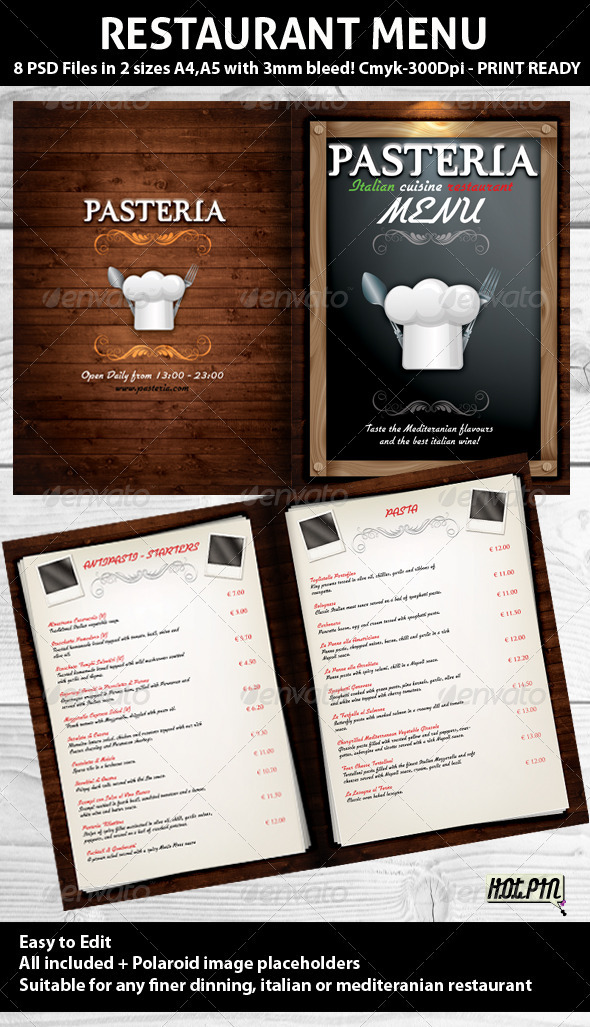 Restaurant Menu PSD Template - Food Menus Print Templates