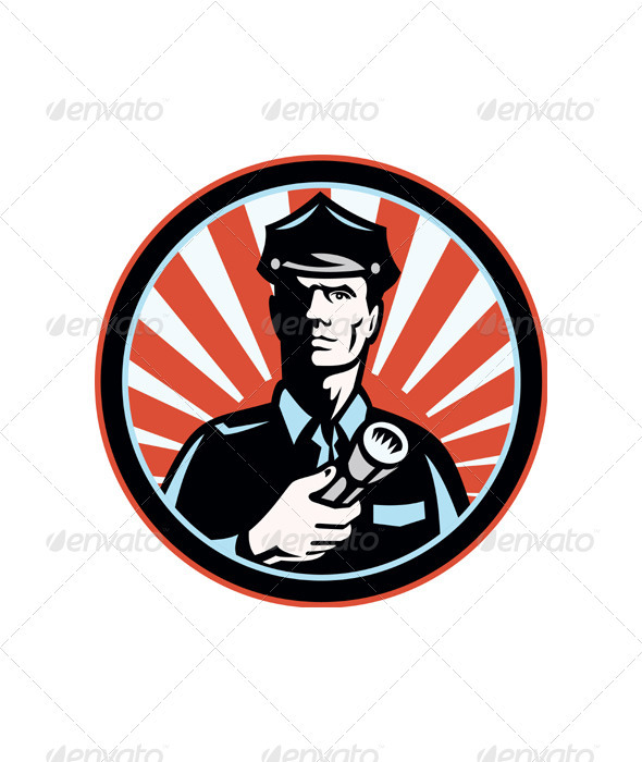 Policeman Security Guard With Flashlight Retro