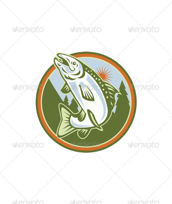 Spotted Speckled Trout Fish Jumping - Animals Characters