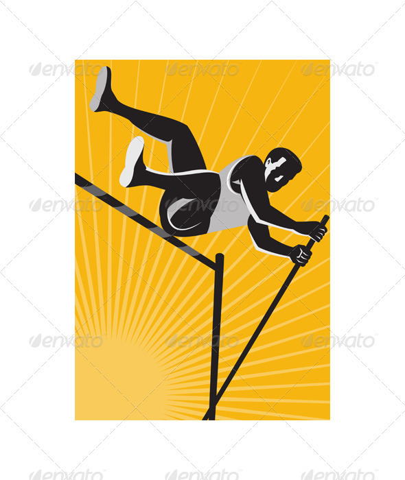 Track and Field Athlete Pole Vault High Jump Retro - People Characters