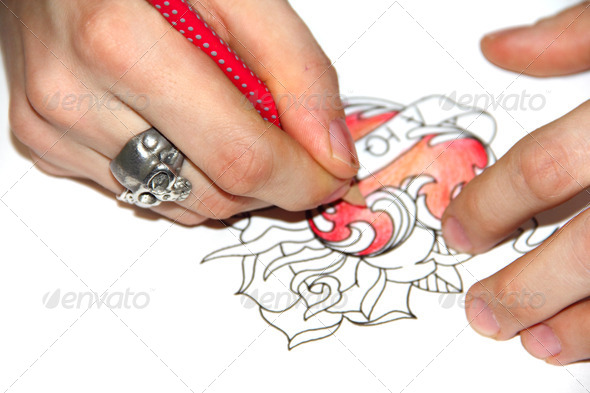 Stock Photo - PhotoDune Tatto artist drawing sketch 2231858