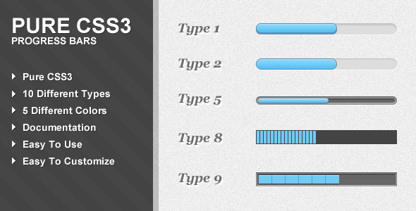 Pure CSS3 Progress Bars - CodeCanyon Item for Sale