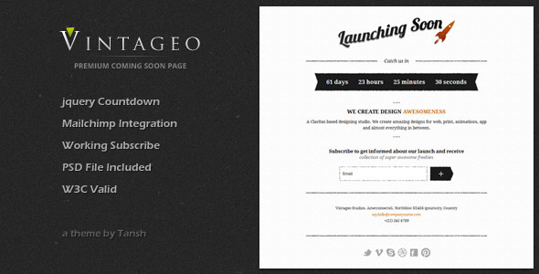 ThemeForest Vintageo Under Construction Coming Soon Template 2234833
