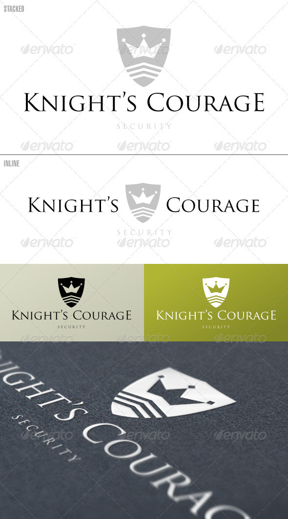 Knight s Courage Shield Logo Template