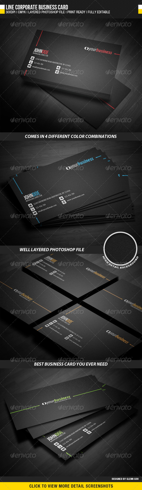 Line Corporate Business Card - Business Cards Print Templates