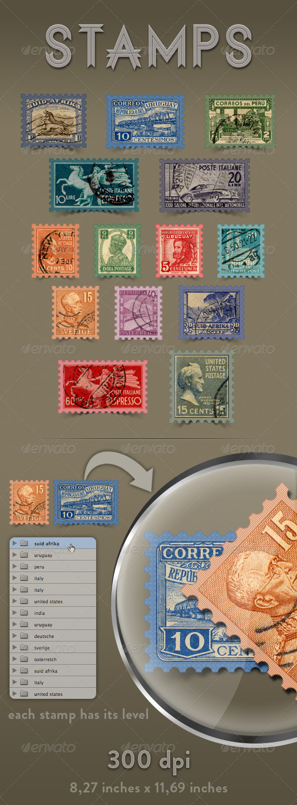 Stamps - Miscellaneous Isolated Objects