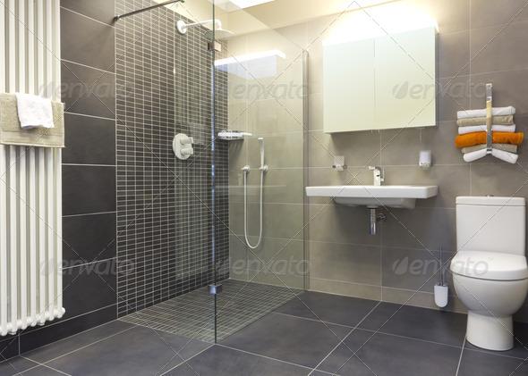 PhotoDune Walk in shower in a modern bathroom 1386092