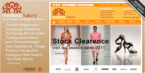 ThemeForest Exdress-Medusa Luxury Fashion Store Magento Theme 505792