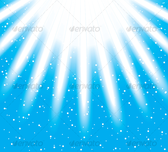 Vector snowflakes descending on a path of light ra - Backgrounds Decorative