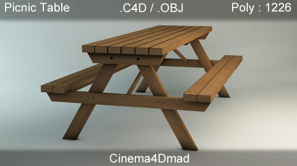 3DOcean Picnic table Bench cinema 4D 2245162