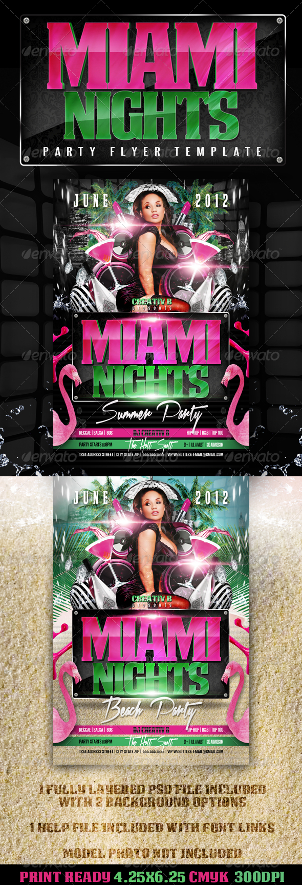 Miami Nights Party Flyer Template - Clubs & Parties Events