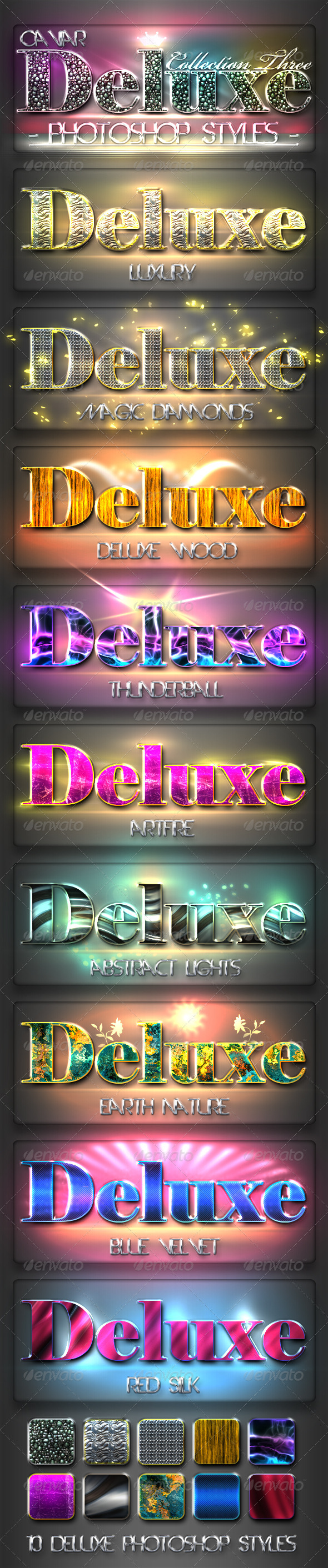 GraphicRiver 10 DeLuxe Photoshop Layer Styles C3 & Lights 2245254