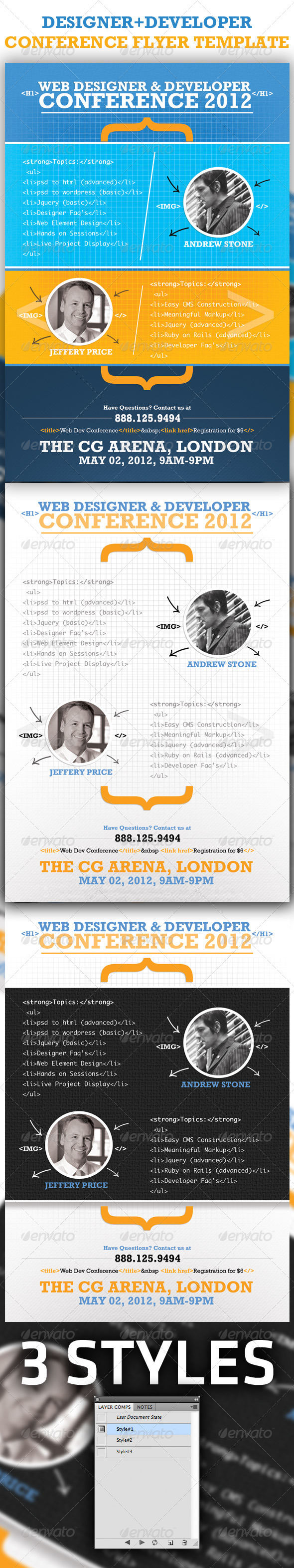 Web Designer & Developer Conference Flyer Template - Flyers Print Templates