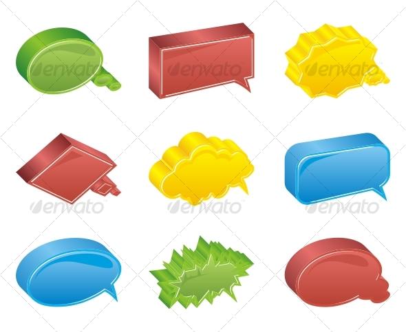 Colour bubbles collection. Vector 3d - Decorative Symbols Decorative