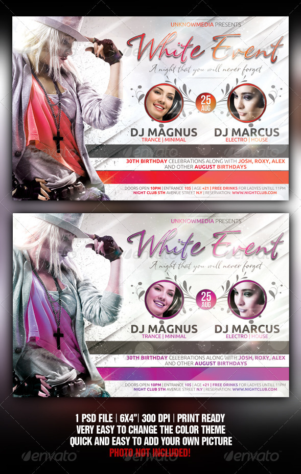 White Night Party Flyer - Flyers Print Templates