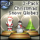 3 PACK Interactive Shakeable Christmas Snow Globes - ActiveDen Item for Sale