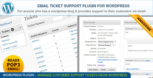 CodeCanyon WordPress Email Ticket Support Plugin 254823