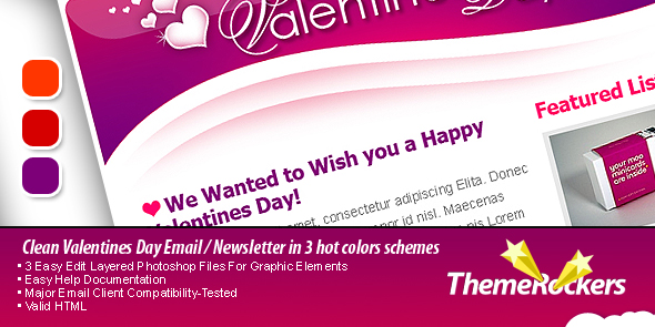 Valentines Day Clean Tri-color Email Templates - Preview of the Valentines Day Email Template