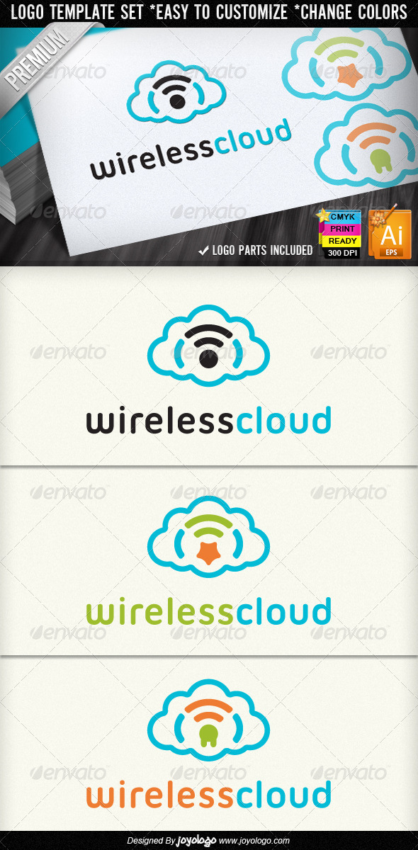 Wireless Cloud Star Plug Internet Wifi Logo Design - Objects Logo Templates
