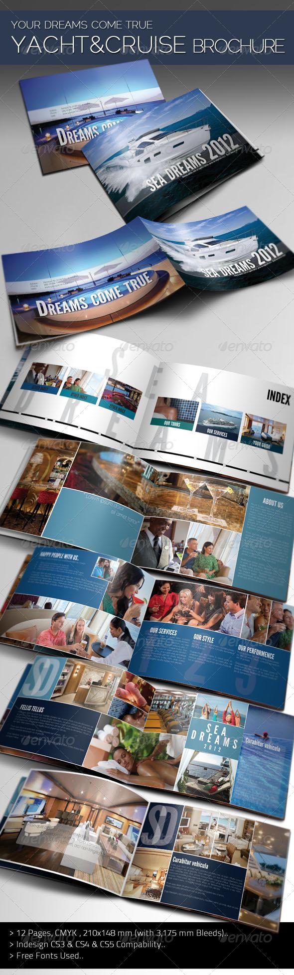 cruise ship brochure templates - sea dreams yacht cruise brochure graphicriver