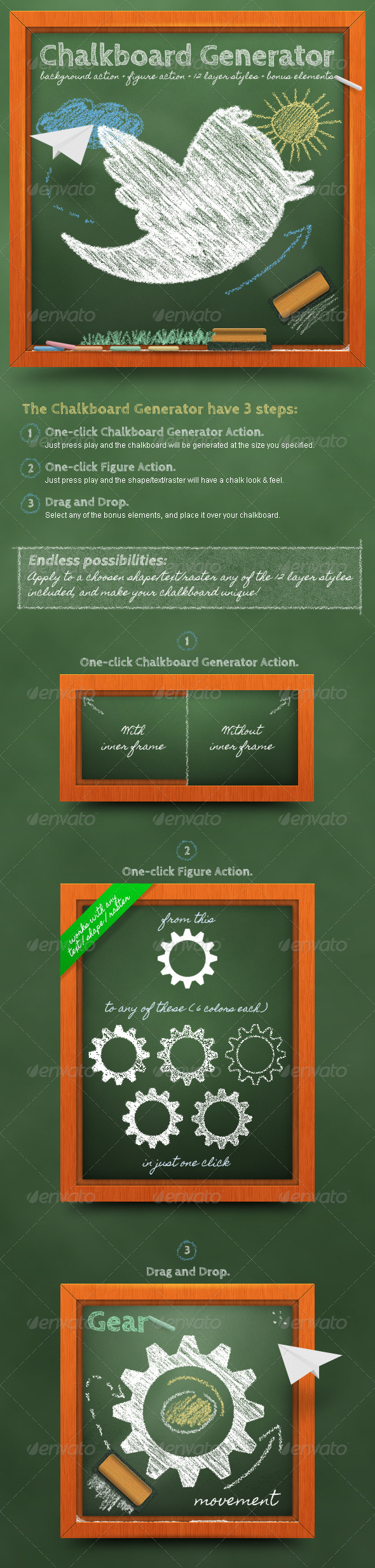 GraphicRiver Chalkboard Generator Action & Layer Styles 610110