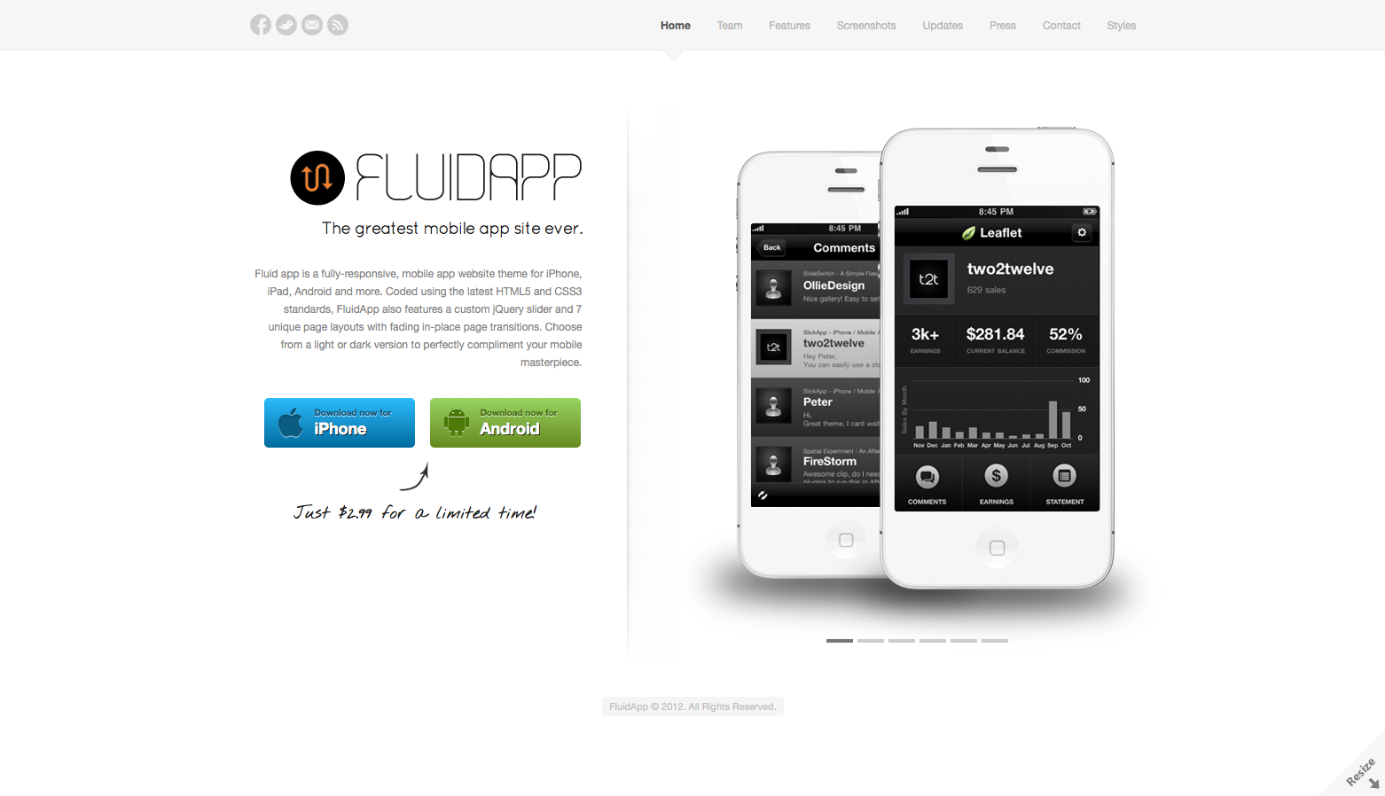 FluidApp - Responsive Mobile App Website Template - Homepage - The homepage features a clean, bold look with unique custom slider and download app buttons. Comes in Light and Dark version.