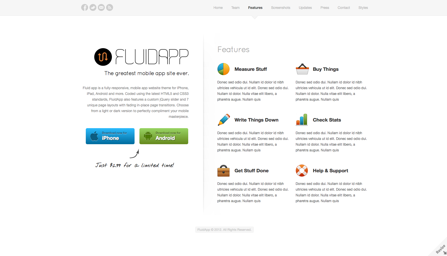 FluidApp - Responsive Mobile App Website Template - Features - List all of your app's features in a tightly laid out grid with colorful eye-catching icons