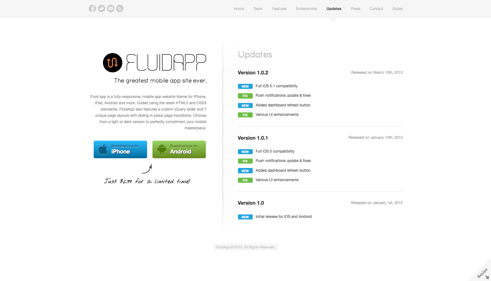 FluidApp - Responsive Mobile App Website Template - Updates - Keep your customers up to date by displaying a version release change log
