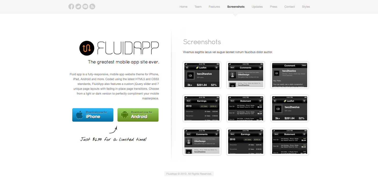 FluidApp - Responsive Mobile App Website Template - Screenshots - display full-sized screenshots of your app using jQuery Fancybox