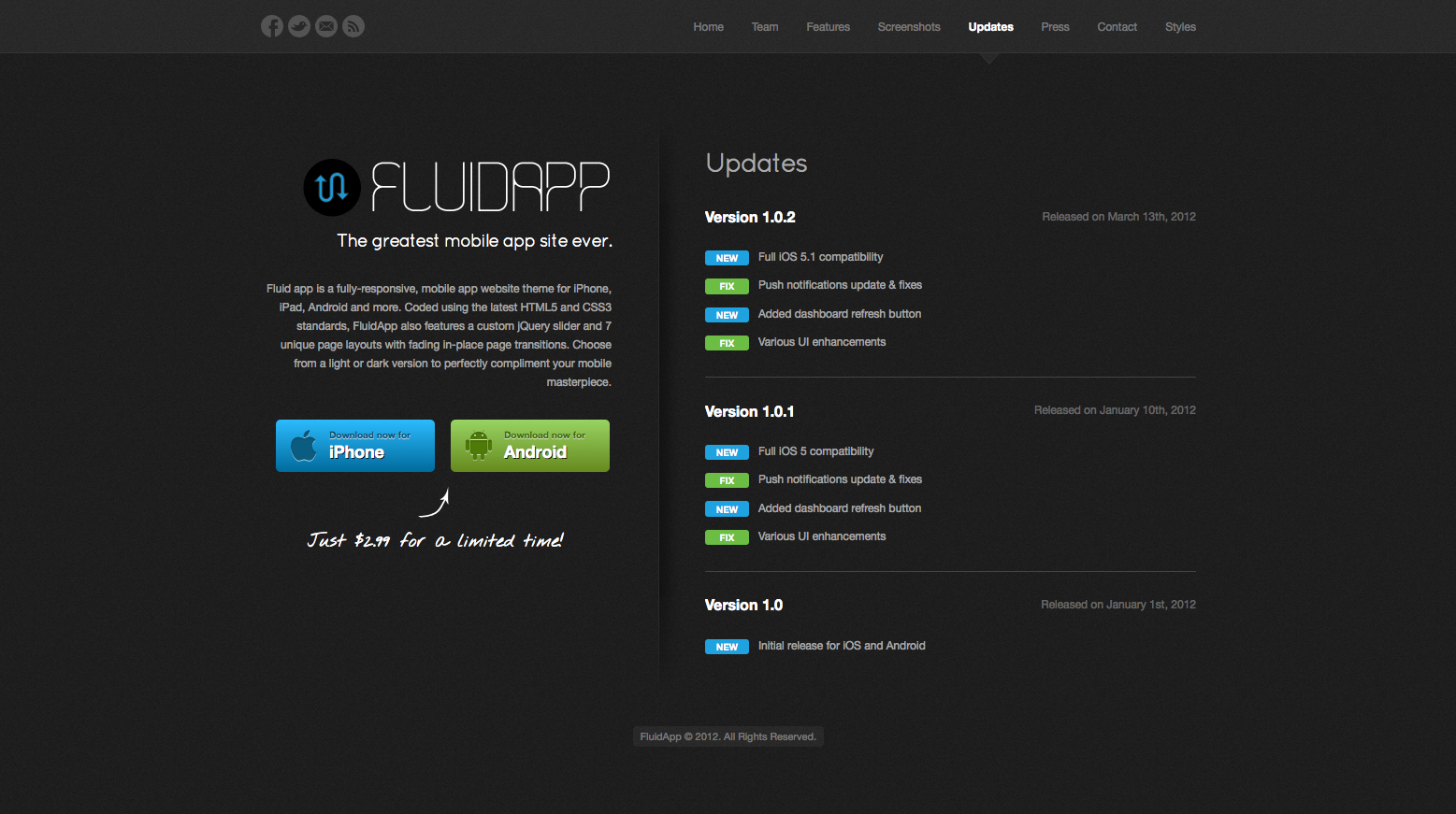 FluidApp - Responsive Mobile App Website Template