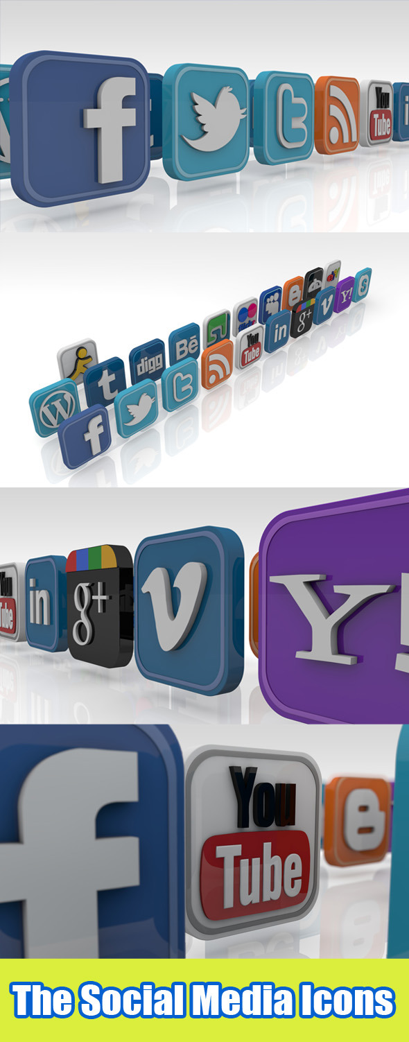 3DOcean Social Network Icons 2247420