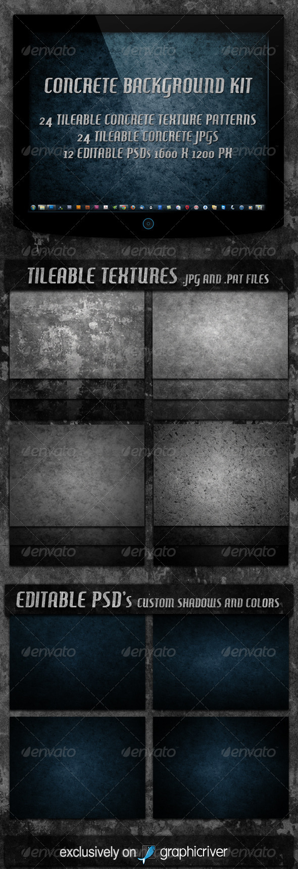 4 Tileable Concrete Textures Background Kit - Miscellaneous Textures / Fills / Patterns