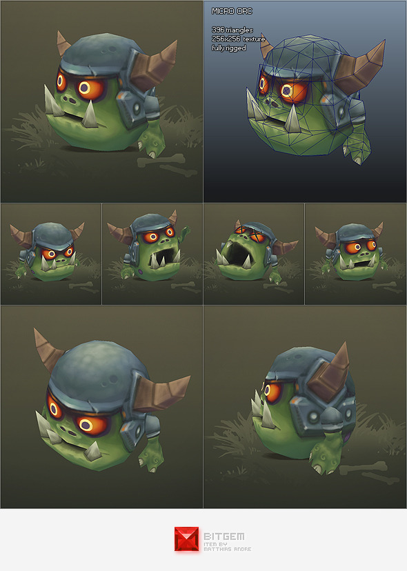 Low Poly Micro Orc Gronk - 3DOcean Item for Sale