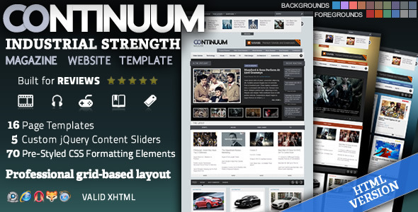 ThemeForest Continuum Magazine HTML Theme 255496